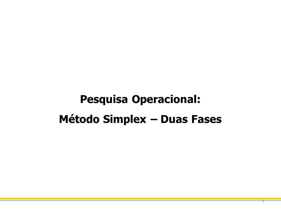 1 Pesquisa Operacional: Método Simplex – Duas Fases