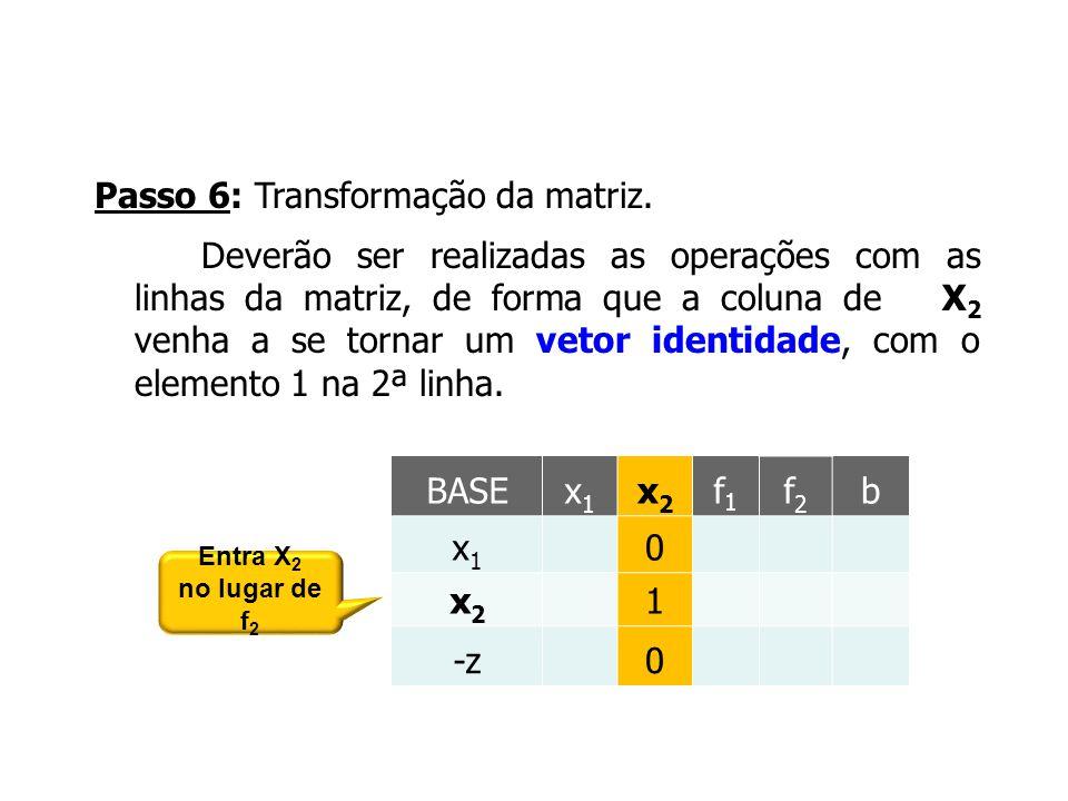 Passo 6: Transformação da matriz. Deverão ser realizadas as operações com as linhas da matriz, de forma que a coluna de X 2 venha a se tornar um vetor