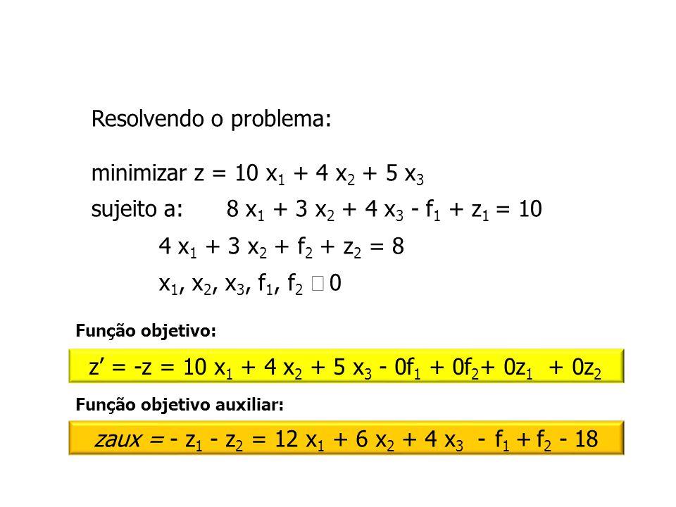 Resolvendo o problema: minimizar z = 10 x 1 + 4 x 2 + 5 x 3 sujeito a:8 x 1 + 3 x 2 + 4 x 3 - f 1 + z 1 = 10 4 x 1 + 3 x 2 + f 2 + z 2 = 8 x 1, x 2, x