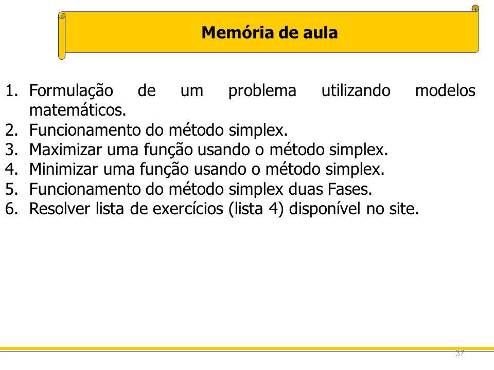 37 Memória de aula 1.Formulação de um problema utilizando modelos matemáticos. 2.Funcionamento do método simplex. 3.Maximizar uma função usando o méto