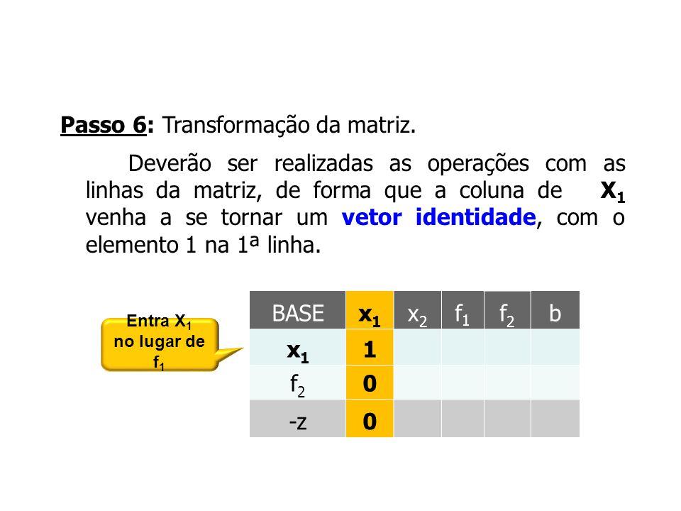 Passo 6: Transformação da matriz. Deverão ser realizadas as operações com as linhas da matriz, de forma que a coluna de X 1 venha a se tornar um vetor