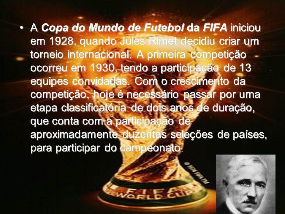 A Copa do Mundo de Futebol da FIFA iniciou em 1928, quando Jules Rimet decidiu criar um torneio internacional.