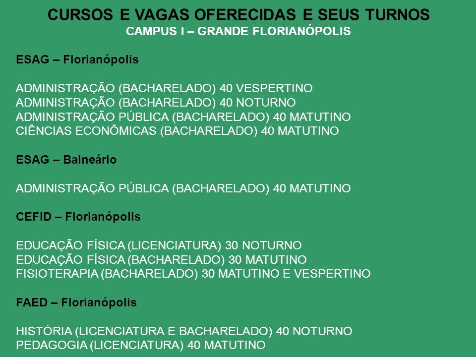 CURSOS E VAGAS OFERECIDAS E SEUS TURNOS CAMPUS I – GRANDE FLORIANÓPOLIS ESAG – Florianópolis ADMINISTRAÇÃO (BACHARELADO) 40 VESPERTINO ADMINISTRAÇÃO (BACHARELADO) 40 NOTURNO ADMINISTRAÇÃO PÚBLICA (BACHARELADO) 40 MATUTINO CIÊNCIAS ECONÔMICAS (BACHARELADO) 40 MATUTINO ESAG – Balneário ADMINISTRAÇÃO PÚBLICA (BACHARELADO) 40 MATUTINO CEFID – Florianópolis EDUCAÇÃO FÍSICA (LICENCIATURA) 30 NOTURNO EDUCAÇÃO FÍSICA (BACHARELADO) 30 MATUTINO FISIOTERAPIA (BACHARELADO) 30 MATUTINO E VESPERTINO FAED – Florianópolis HISTÓRIA (LICENCIATURA E BACHARELADO) 40 NOTURNO PEDAGOGIA (LICENCIATURA) 40 MATUTINO