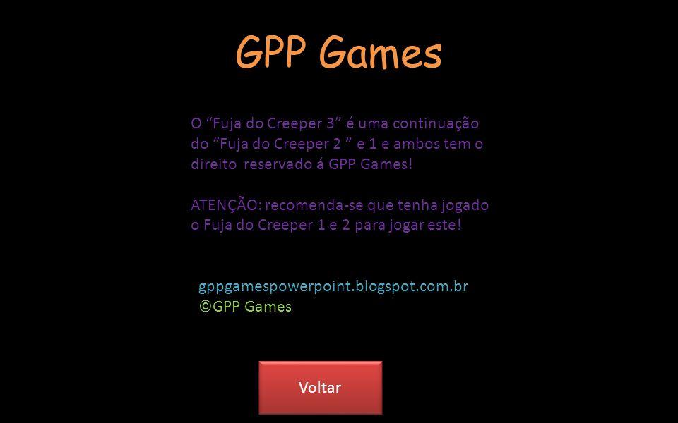 Créditos Criado por: Adriano Garcia Empresa: GPP Games Sons: Microsoft Power Point Creeper: Minecraft-Mojang Este jogo é baseado no personagem creeper