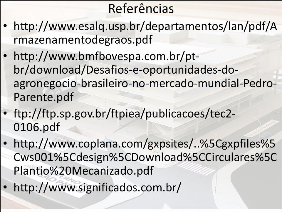Referências http://www.esalq.usp.br/departamentos/lan/pdf/A rmazenamentodegraos.pdf http://www.bmfbovespa.com.br/pt- br/download/Desafios-e-oportunida