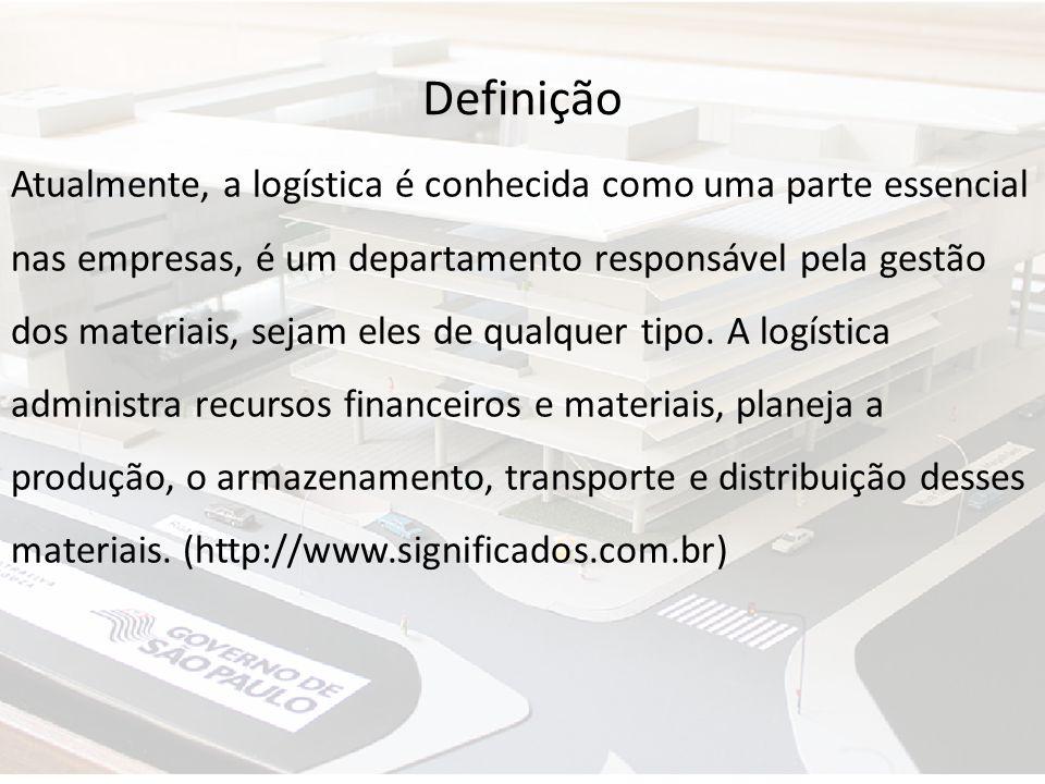 Definição Atualmente, a logística é conhecida como uma parte essencial nas empresas, é um departamento responsável pela gestão dos materiais, sejam el