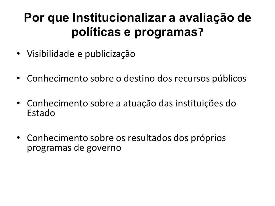 Por que Institucionalizar a avaliação de políticas e programas .