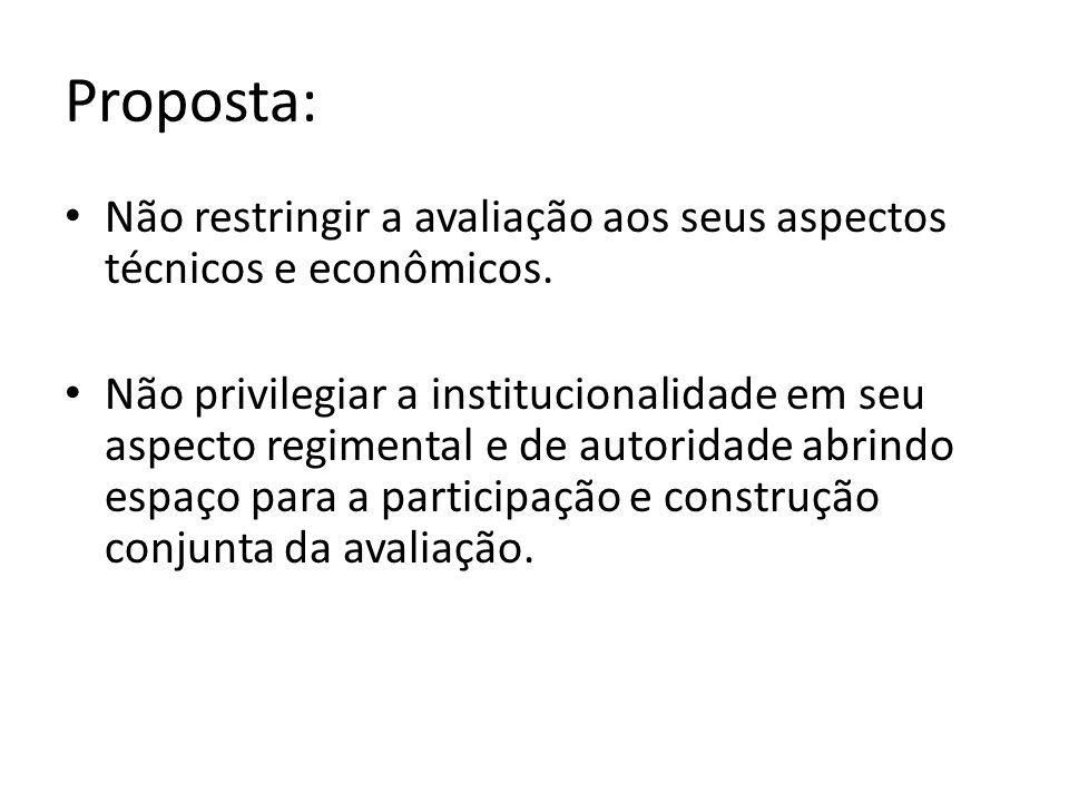 Proposta: Não restringir a avaliação aos seus aspectos técnicos e econômicos.