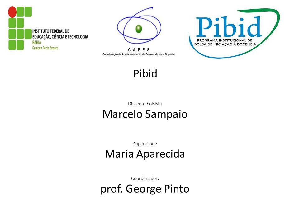 Pibid Discente bolsista Marcelo Sampaio Supervisora: Maria Aparecida Coordenador: prof. George Pinto
