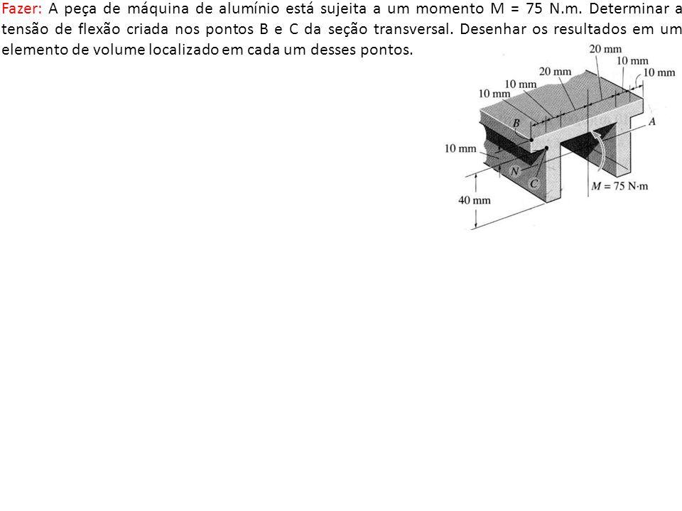 Fazer: A peça de máquina de alumínio está sujeita a um momento M = 75 N.m. Determinar a tensão de flexão criada nos pontos B e C da seção transversal.