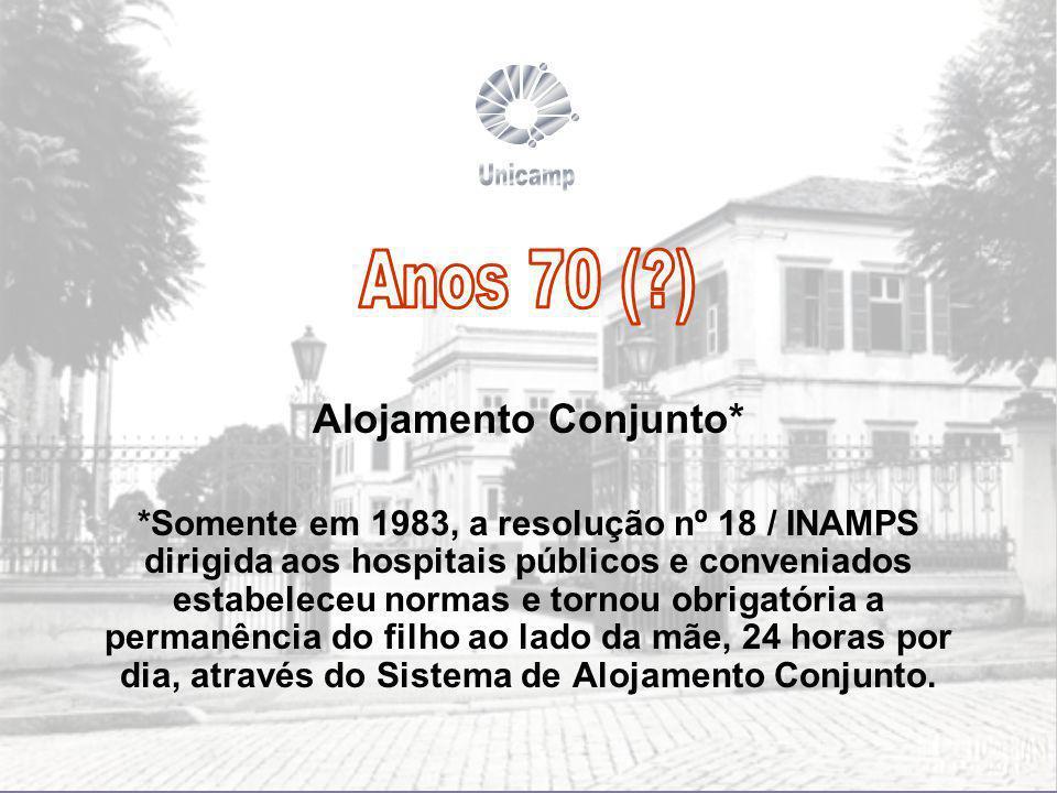 Alojamento Conjunto* *Somente em 1983, a resolução nº 18 / INAMPS dirigida aos hospitais públicos e conveniados estabeleceu normas e tornou obrigatória a permanência do filho ao lado da mãe, 24 horas por dia, através do Sistema de Alojamento Conjunto.