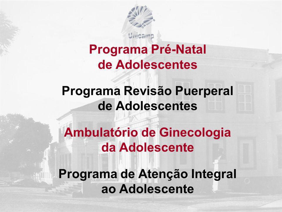 Programa Pré-Natal de Adolescentes Programa Revisão Puerperal de Adolescentes Ambulatório de Ginecologia da Adolescente Programa de Atenção Integral ao Adolescente