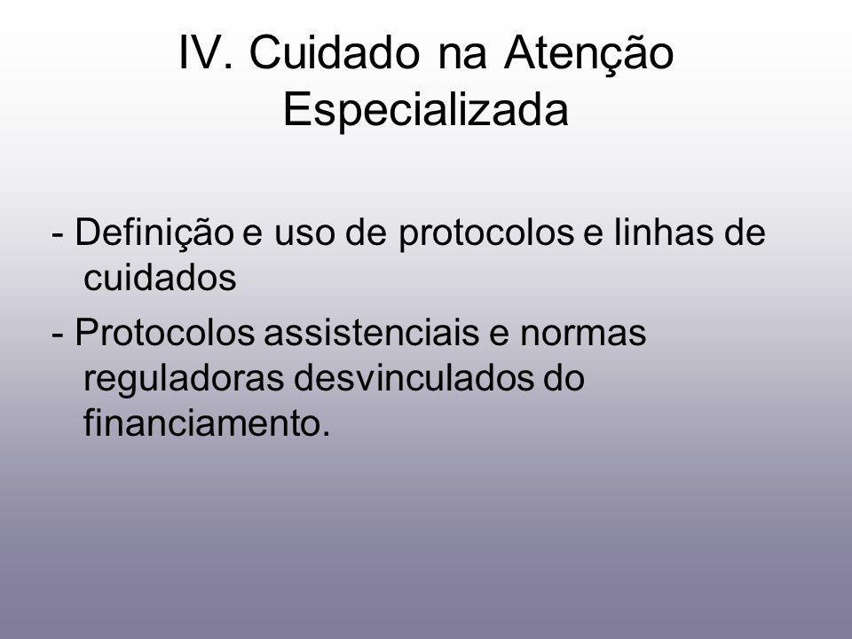 IV. Cuidado na Atenção Especializada - Definição e uso de protocolos e linhas de cuidados - Protocolos assistenciais e normas reguladoras desvinculado