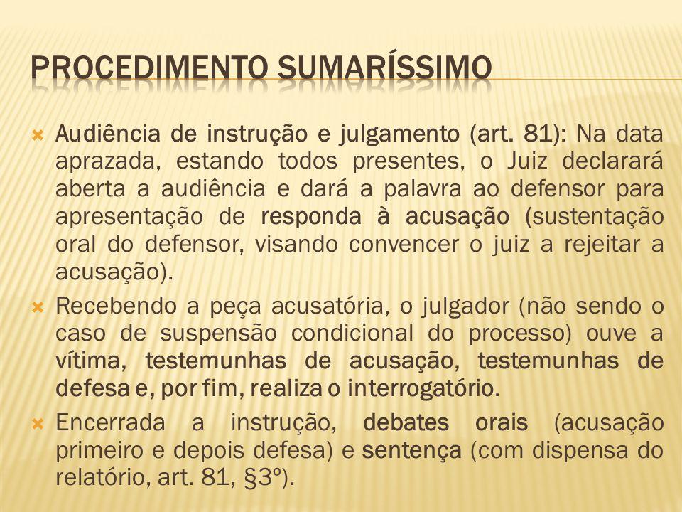 Audiência de instrução e julgamento (art. 81): Na data aprazada, estando todos presentes, o Juiz declarará aberta a audiência e dará a palavra ao defe