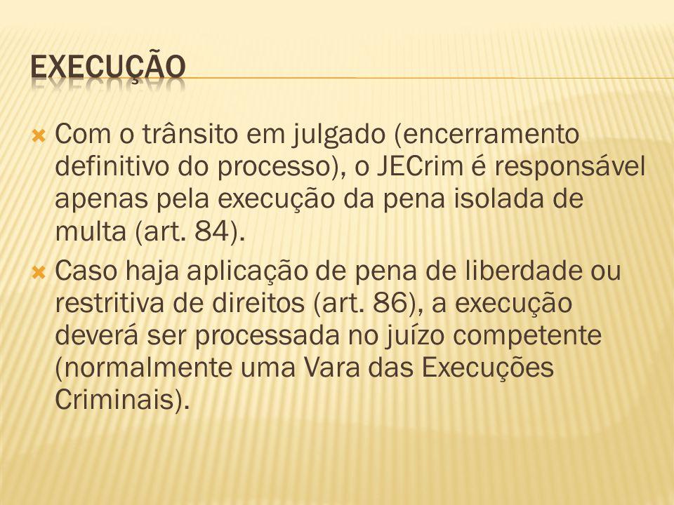 Com o trânsito em julgado (encerramento definitivo do processo), o JECrim é responsável apenas pela execução da pena isolada de multa (art. 84). Caso