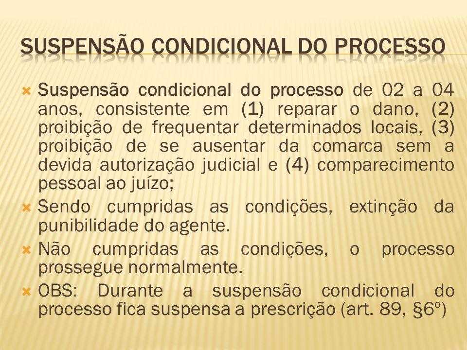 Suspensão condicional do processo de 02 a 04 anos, consistente em (1) reparar o dano, (2) proibição de frequentar determinados locais, (3) proibição d
