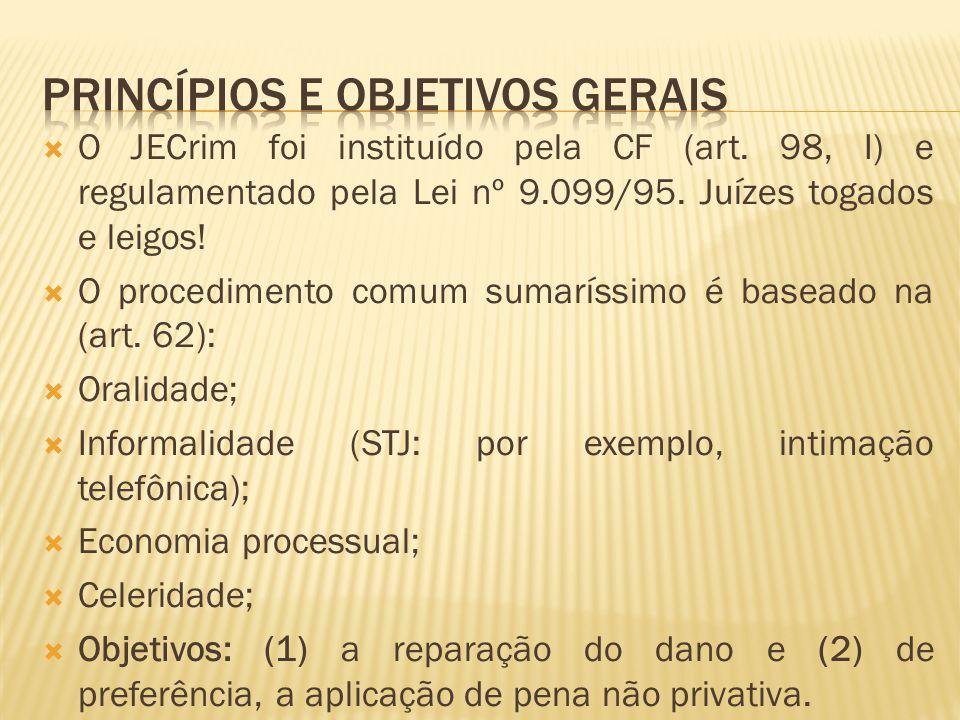 O JECrim foi instituído pela CF (art. 98, I) e regulamentado pela Lei nº 9.099/95. Juízes togados e leigos! O procedimento comum sumaríssimo é baseado