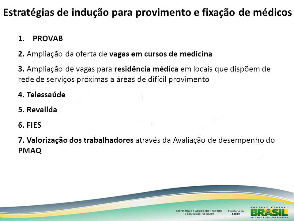 1.PROVAB 2. Ampliação da oferta de vagas em cursos de medicina 3. Ampliação de vagas para residência médica em locais que dispõem de rede de serviços