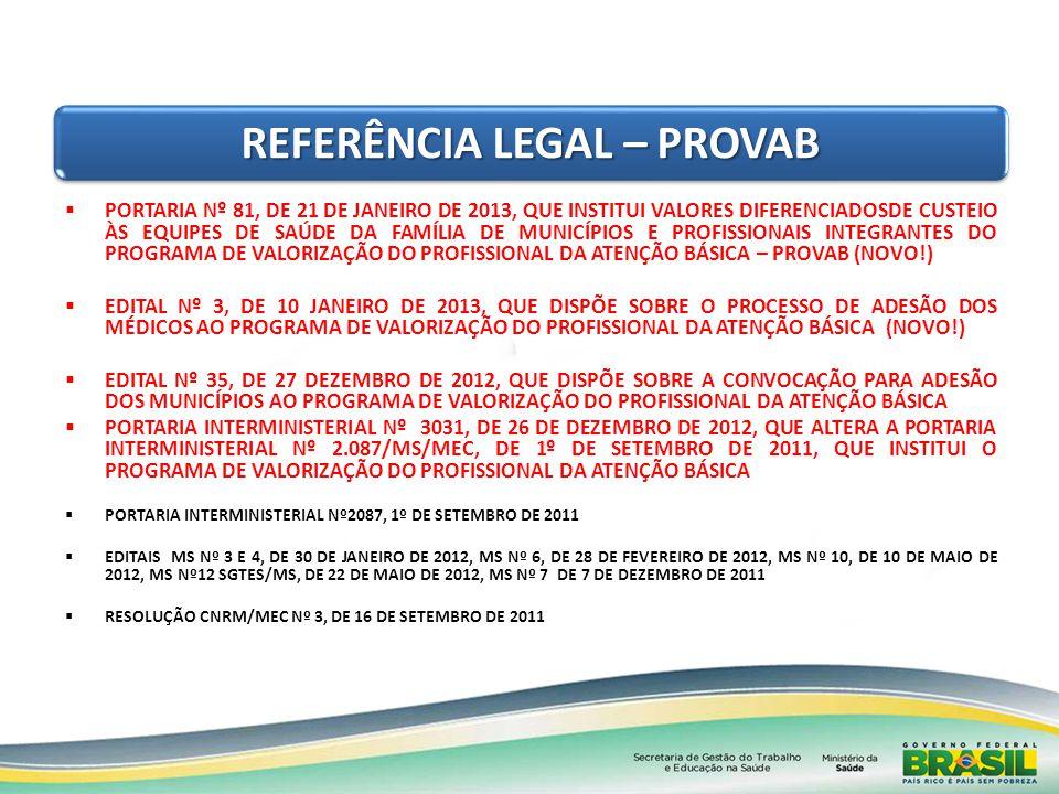 REFERÊNCIA LEGAL – PROVAB PORTARIA Nº 81, DE 21 DE JANEIRO DE 2013, QUE INSTITUI VALORES DIFERENCIADOSDE CUSTEIO ÀS EQUIPES DE SAÚDE DA FAMÍLIA DE MUN