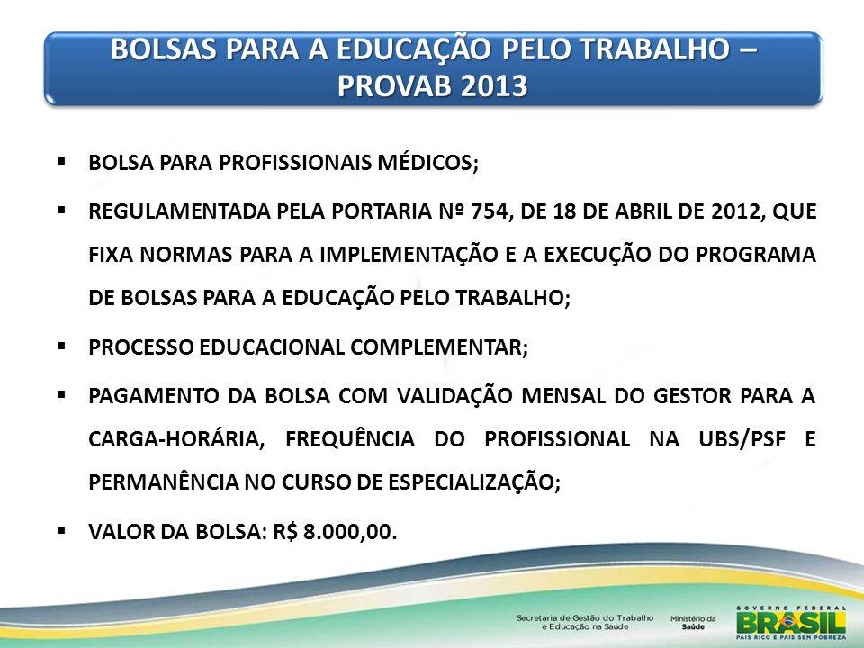 BOLSA PARA PROFISSIONAIS MÉDICOS; REGULAMENTADA PELA PORTARIA Nº 754, DE 18 DE ABRIL DE 2012, QUE FIXA NORMAS PARA A IMPLEMENTAÇÃO E A EXECUÇÃO DO PRO