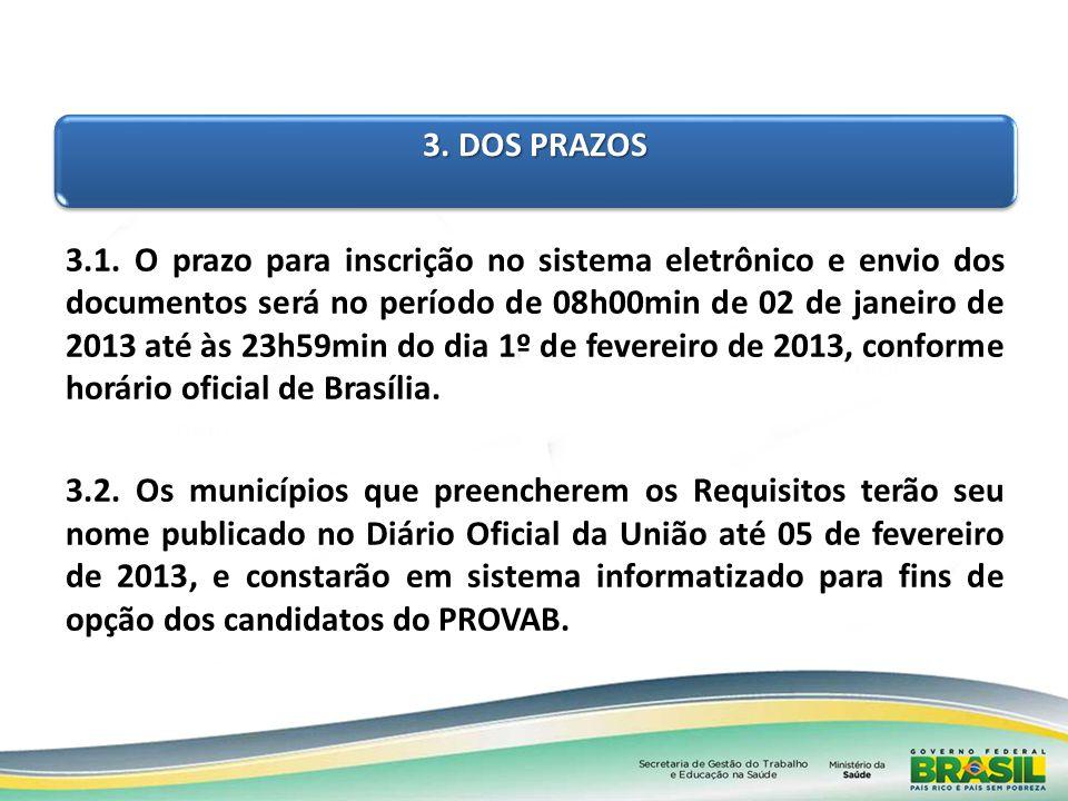3. DOS PRAZOS 3.1. O prazo para inscrição no sistema eletrônico e envio dos documentos será no período de 08h00min de 02 de janeiro de 2013 até às 23h