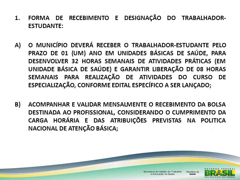1.FORMA DE RECEBIMENTO E DESIGNAÇÃO DO TRABALHADOR- ESTUDANTE: A)O MUNICÍPIO DEVERÁ RECEBER O TRABALHADOR-ESTUDANTE PELO PRAZO DE 01 (UM) ANO EM UNIDA