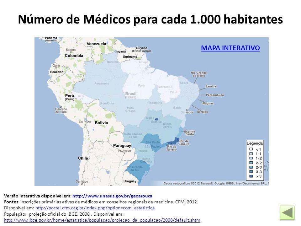 MAPA INTERATIVO Número de Médicos para cada 1.000 habitantes Versão interativa disponível em: http://www.unasus.gov.br/geoaroucahttp://www.unasus.gov.