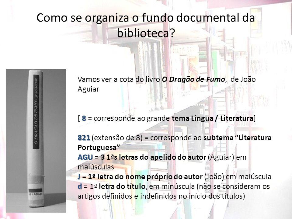Como se organiza o fundo documental da biblioteca? Vamos ver a cota do livro O Dragão de Fumo, de João Aguiar 8 [ 8 = corresponde ao grande tema Língu
