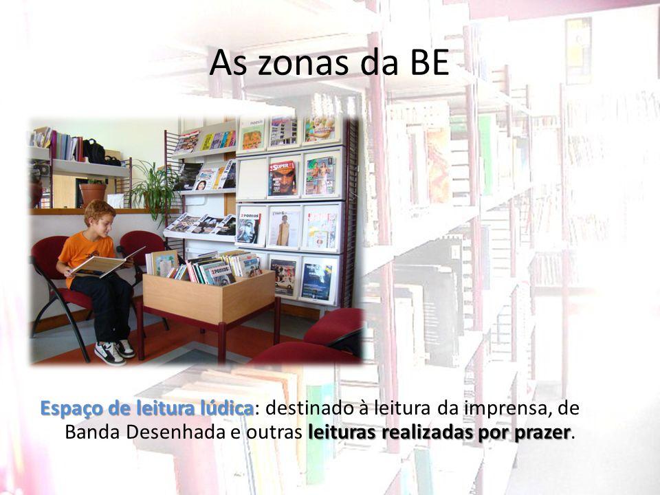 As zonas da BE Espaço de leitura lúdica leituras realizadas por prazer Espaço de leitura lúdica: destinado à leitura da imprensa, de Banda Desenhada e