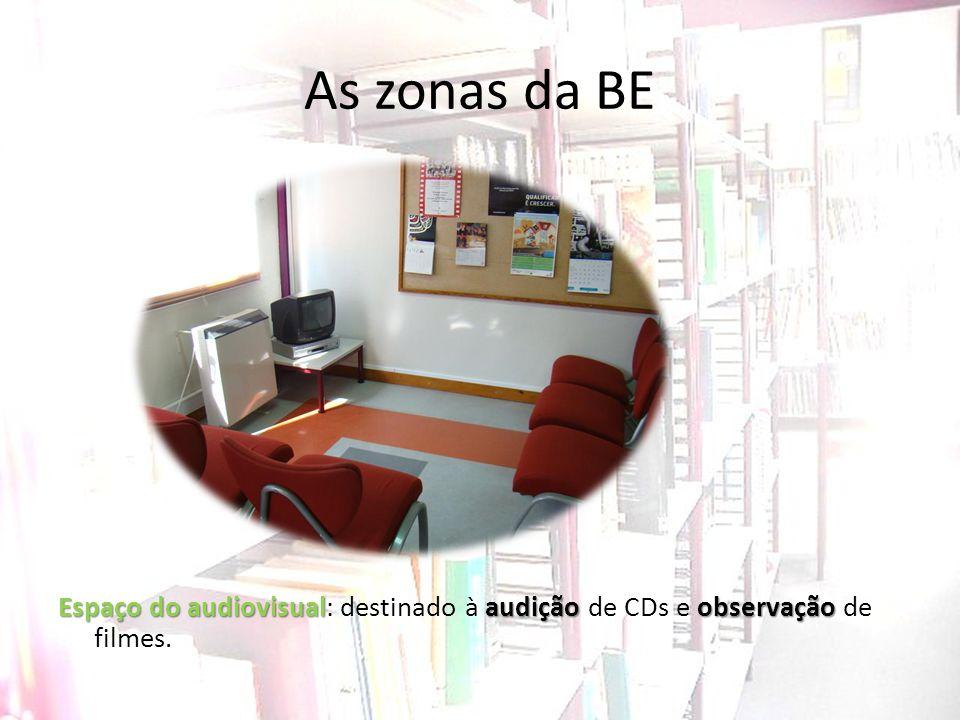 As zonas da BE Espaço do audiovisualaudição observação Espaço do audiovisual: destinado à audição de CDs e observação de filmes.