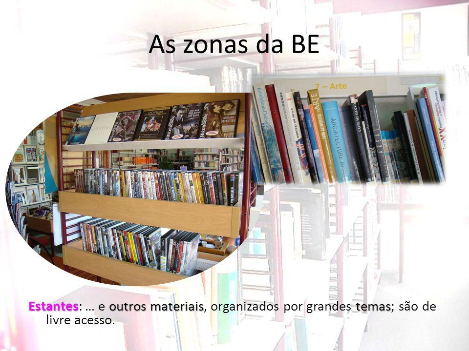 As zonas da BE Estantesoutros materiaistemas Estantes: … e outros materiais, organizados por grandes temas; são de livre acesso.