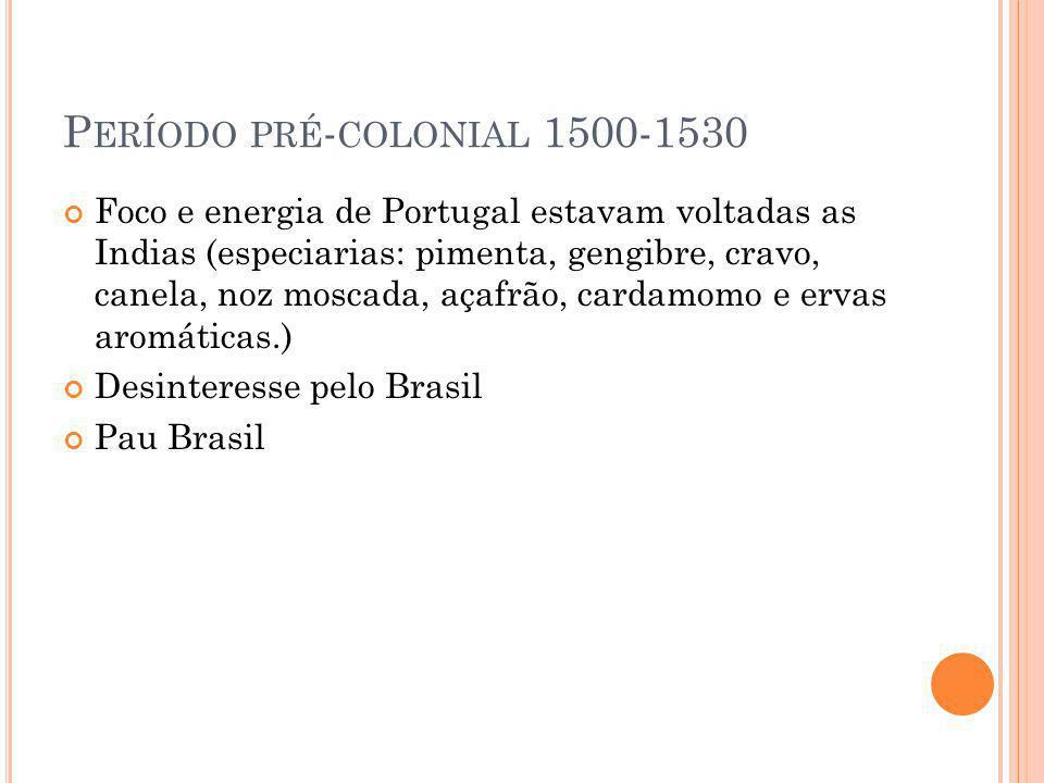 P ERÍODO PRÉ - COLONIAL 1500-1530 Foco e energia de Portugal estavam voltadas as Indias (especiarias: pimenta, gengibre, cravo, canela, noz moscada, a