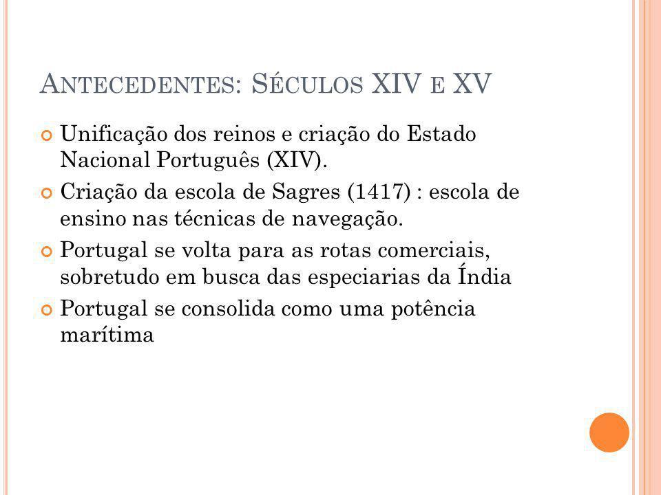 A NTECEDENTES : S ÉCULOS XIV E XV Unificação dos reinos e criação do Estado Nacional Português (XIV). Criação da escola de Sagres (1417) : escola de e