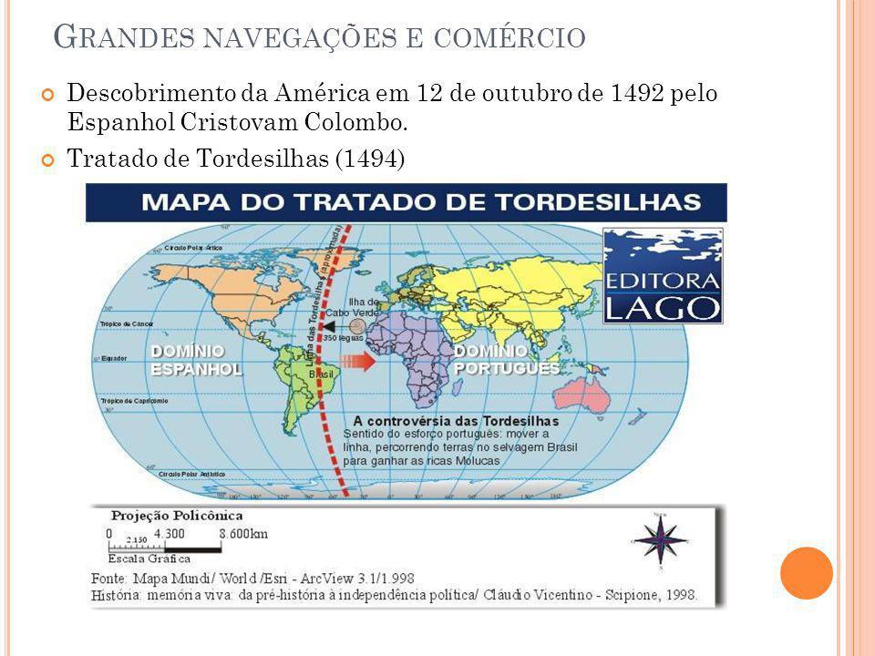 G RANDES NAVEGAÇÕES E COMÉRCIO Descobrimento da América em 12 de outubro de 1492 pelo Espanhol Cristovam Colombo. Tratado de Tordesilhas (1494)