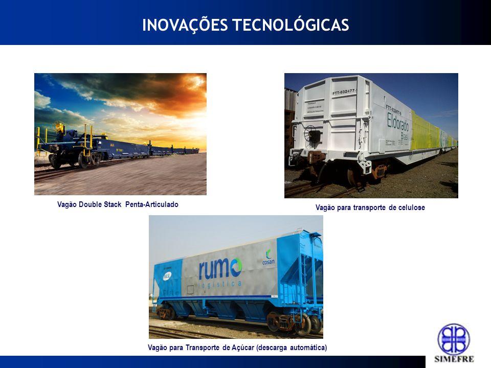 INOVAÇÕES TECNOLÓGICAS Vagão Double Stack Penta-Articulado Vagão para transporte de celulose Vagão para Transporte de Açúcar (descarga automática)