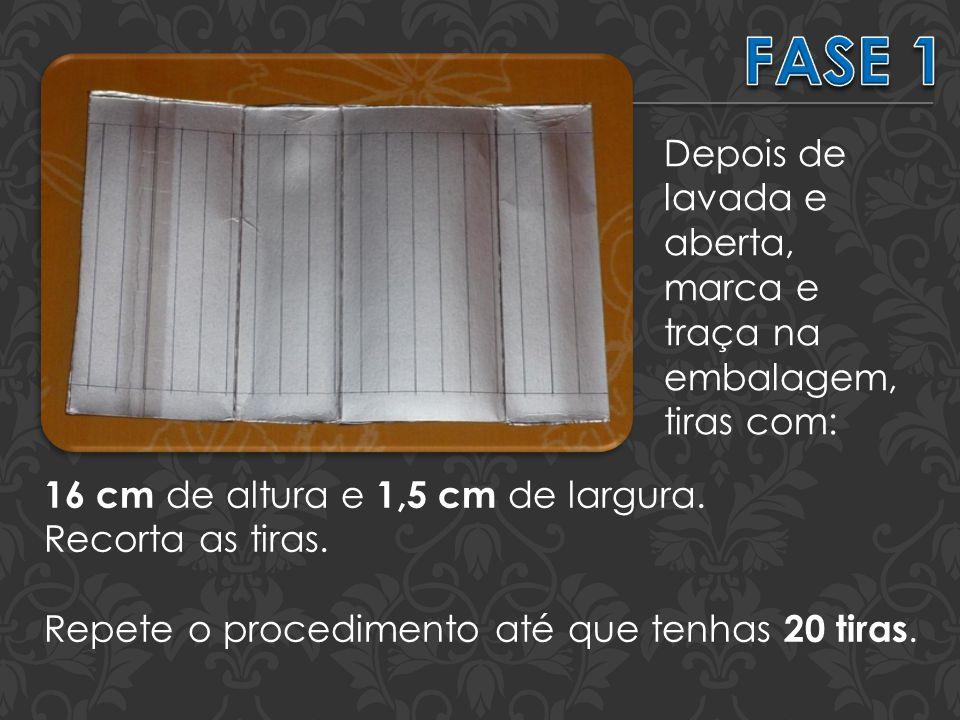 Depois de lavada e aberta, marca e traça na embalagem, tiras com: 16 cm de altura e 1,5 cm de largura.