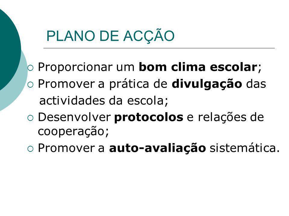 PLANO DE ACÇÃO Proporcionar um bom clima escolar; Promover a prática de divulgação das actividades da escola; Desenvolver protocolos e relações de coo