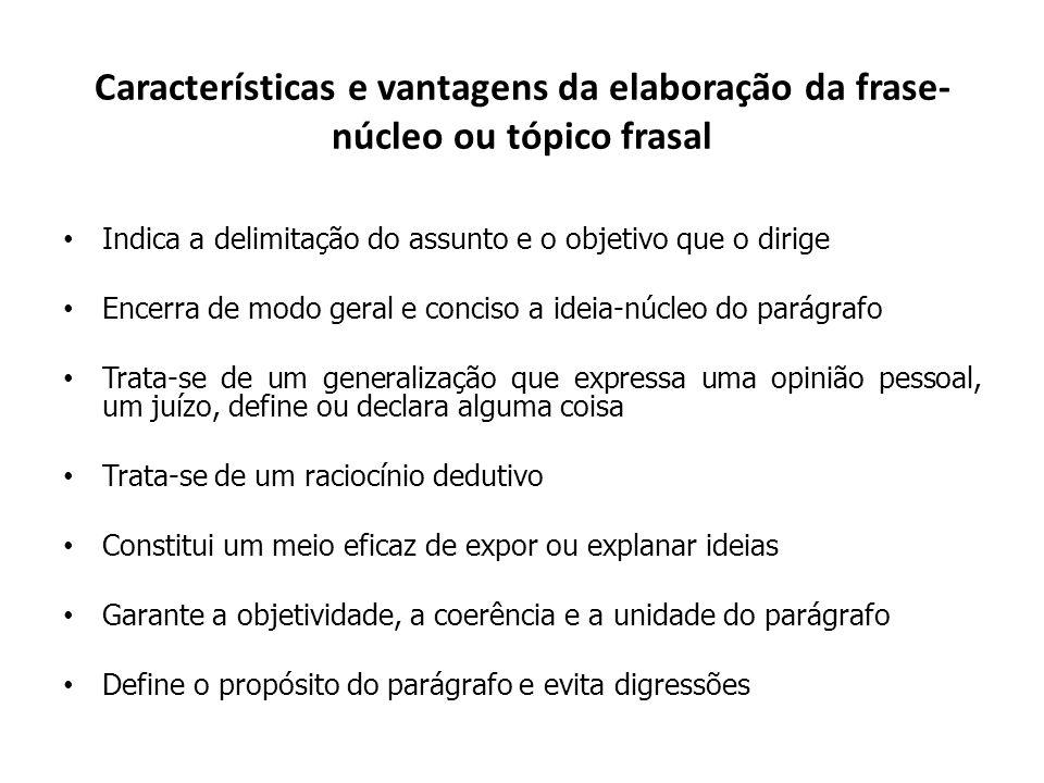 Características e vantagens da elaboração da frase- núcleo ou tópico frasal Indica a delimitação do assunto e o objetivo que o dirige Encerra de modo