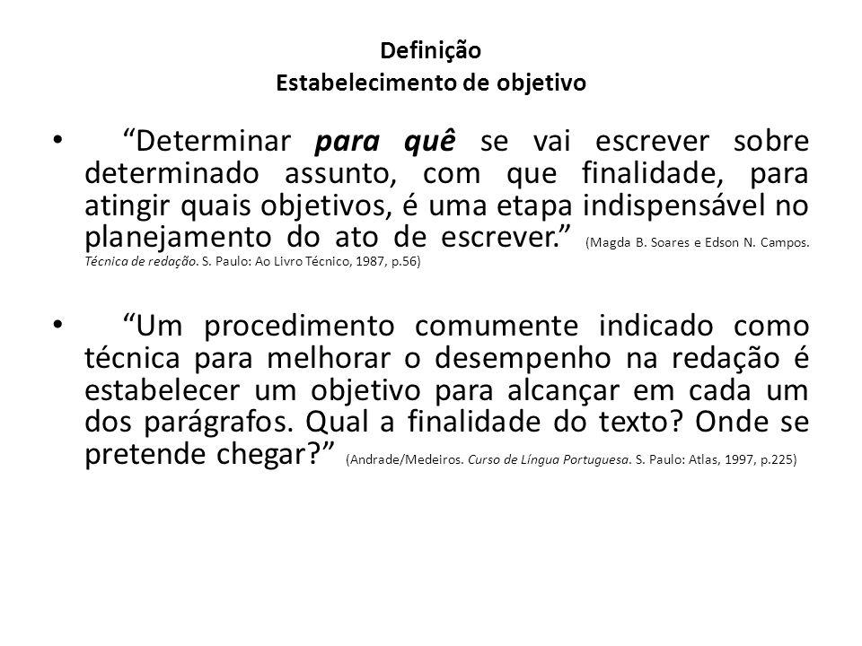 Definição Estabelecimento de objetivo Determinar para quê se vai escrever sobre determinado assunto, com que finalidade, para atingir quais objetivos,
