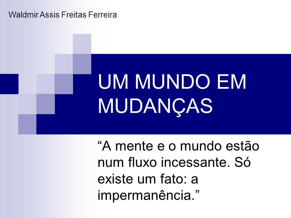 UM MUNDO EM MUDANÇAS A mente e o mundo estão num fluxo incessante. Só existe um fato: a impermanência. Waldmir Assis Freitas Ferreira