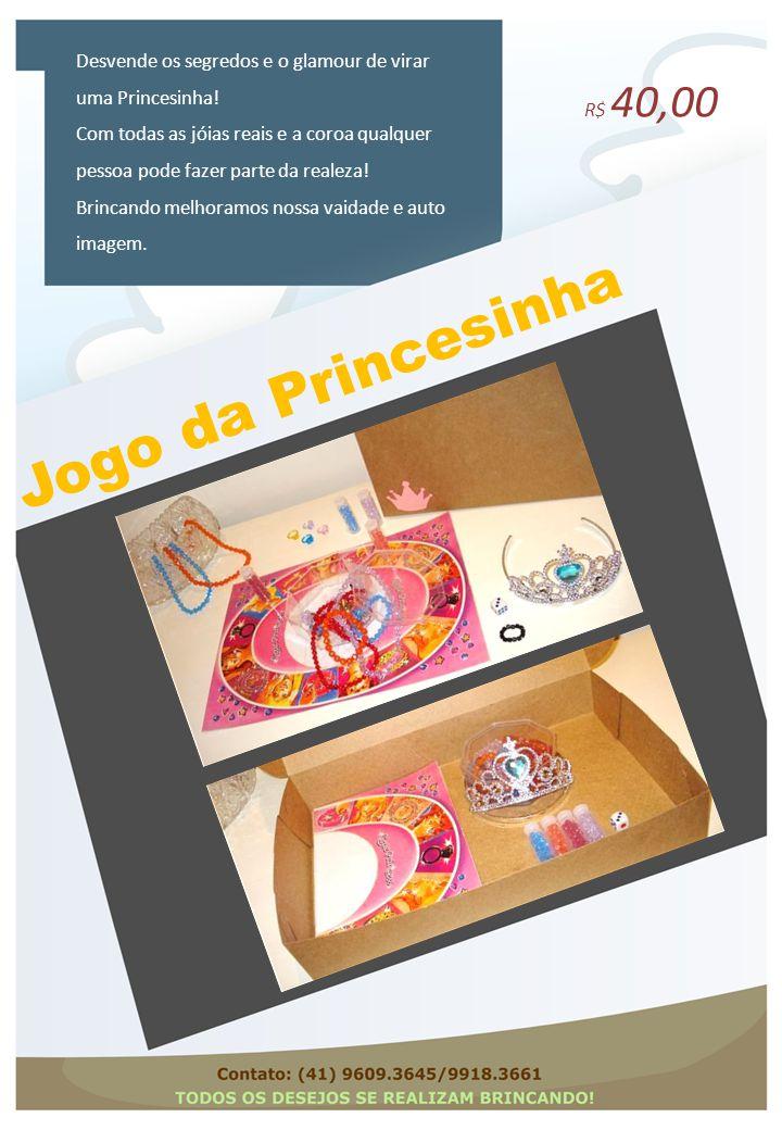 Jogo da Princesinha Desvende os segredos e o glamour de virar uma Princesinha! Com todas as jóias reais e a coroa qualquer pessoa pode fazer parte da