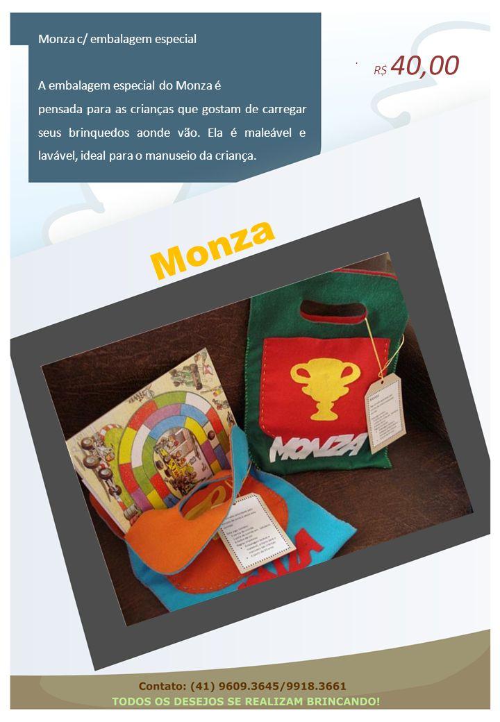 Monza. Monza c/ embalagem especial A embalagem especial do Monza é pensada para as crianças que gostam de carregar seus brinquedos aonde vão. Ela é ma