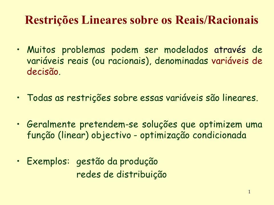 72 Restrições Estritas / Variáveis Arbitrárias Caso z < m: Neste caso todas as variáveis arbitrárias são básicas, originando um conjunto E a é constituido por z equações Z i = d i +r i,m-z+1 S m-z+1 +...+r i,s S s Uma vez obtido E a, continuam a existir m-z equações nas variáveis não-negativas.