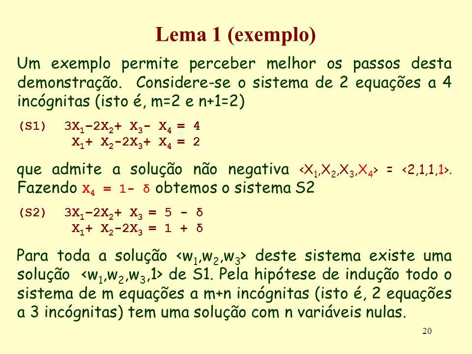20 Lema 1 (exemplo) Um exemplo permite perceber melhor os passos desta demonstração. Considere-se o sistema de 2 equações a 4 incógnitas (isto é, m=2
