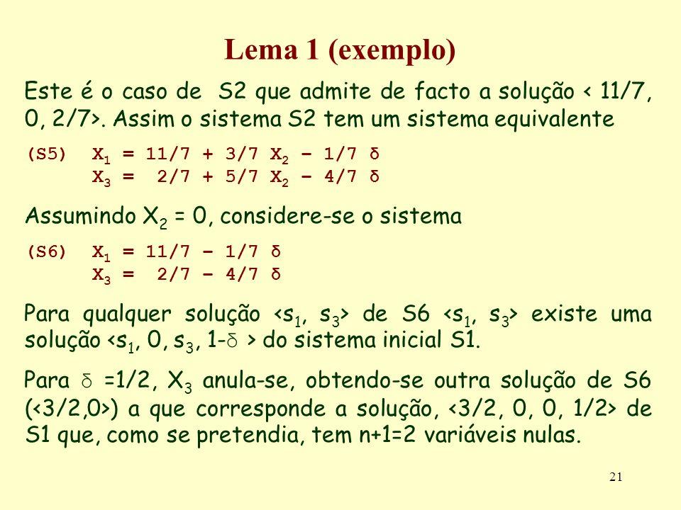 21 Lema 1 (exemplo) Este é o caso de S2 que admite de facto a solução. Assim o sistema S2 tem um sistema equivalente (S5)X 1 = 11/7 + 3/7 X 2 – 1/7 δ