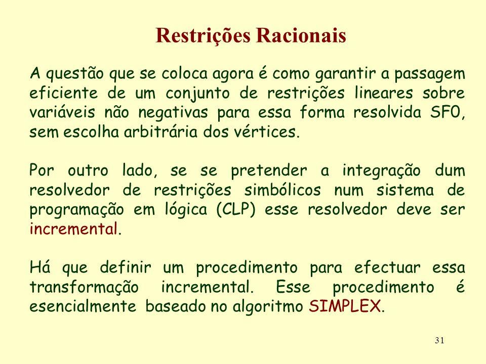 31 Restrições Racionais A questão que se coloca agora é como garantir a passagem eficiente de um conjunto de restrições lineares sobre variáveis não n