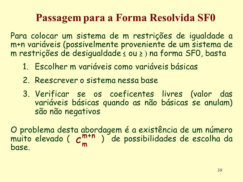 39 Para colocar um sistema de m restrições de igualdade a m+n variáveis (possivelmente proveniente de um sistema de m restrições de desigualdade ou )
