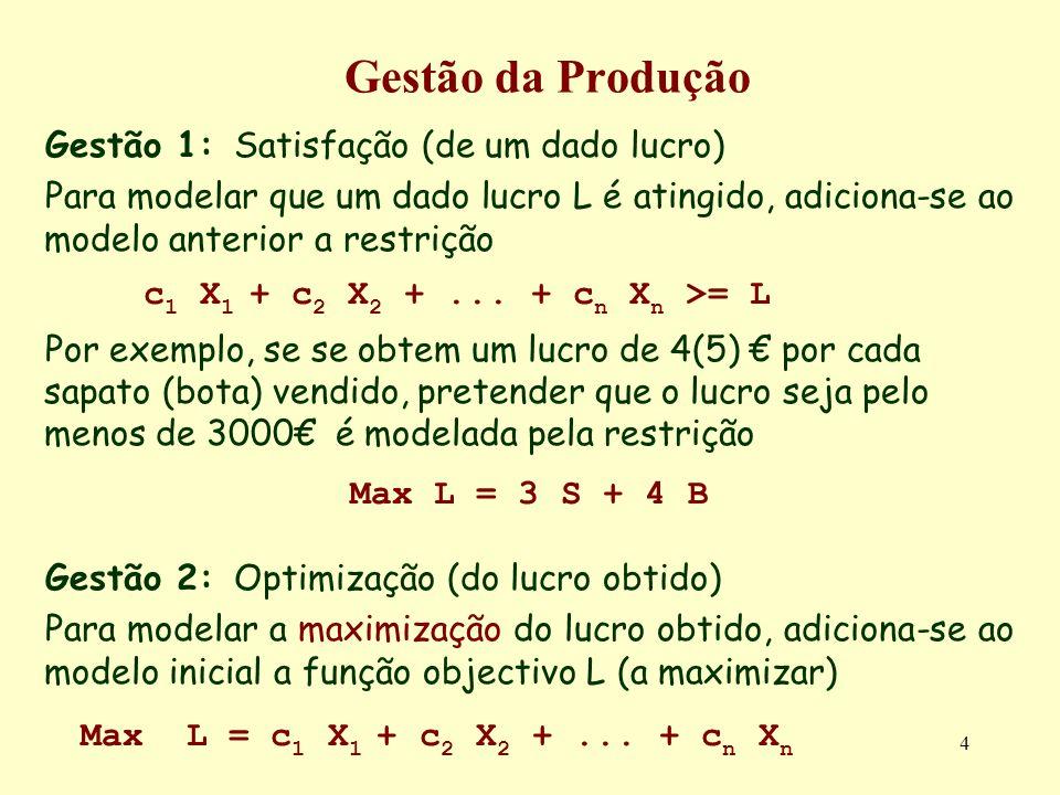 95 Variáveis Fixas em SF2 Com efeito, pretendendo-se obter o Min Z 6 X 2 = 4 - 2S 1 /5 + S 4 /5 S 2 = 4 + 3S 1 /5 - 4S 4 /5 S 3 = 8 + 4S 1 /5 - 7S 4 /5 X 1 = 3 - S 1 /5 + 3S 4 /5 Z 6 = 5 + S 1 - S 4 S 4 entra na base, e portanto deve verificar-se X 2 = 0 = 4 + S 4 /5 => S 4 =-20 S 2 = 0 = 4 - 4S 4 /5 => S 4 = 5 S 3 = 0 = 8 - 7S 4 /5 => S 4 = 40/7 (5.714) X 1 = 0 = 3 + 3S 4 /5 => S 4 = -5 Z 6 = 0 = 5 - S 4 => S 4 = 5 Pelo que quer Z 6 quer S 2 se anulam para S 4 = 5.