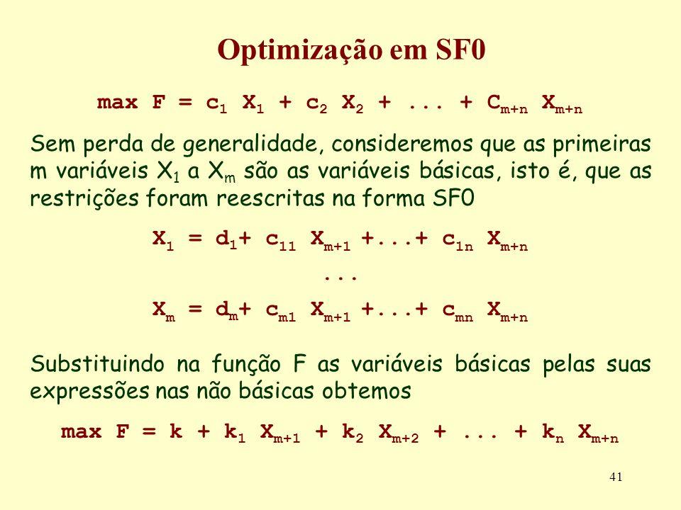 41 max F = c 1 X 1 + c 2 X 2 +... + C m+n X m+n Sem perda de generalidade, consideremos que as primeiras m variáveis X 1 a X m são as variáveis básica