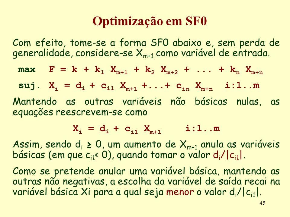 45 Com efeito, tome-se a forma SF0 abaixo e, sem perda de generalidade, considere-se X m+1 como variável de entrada. maxF = k + k 1 X m+1 + k 2 X m+2